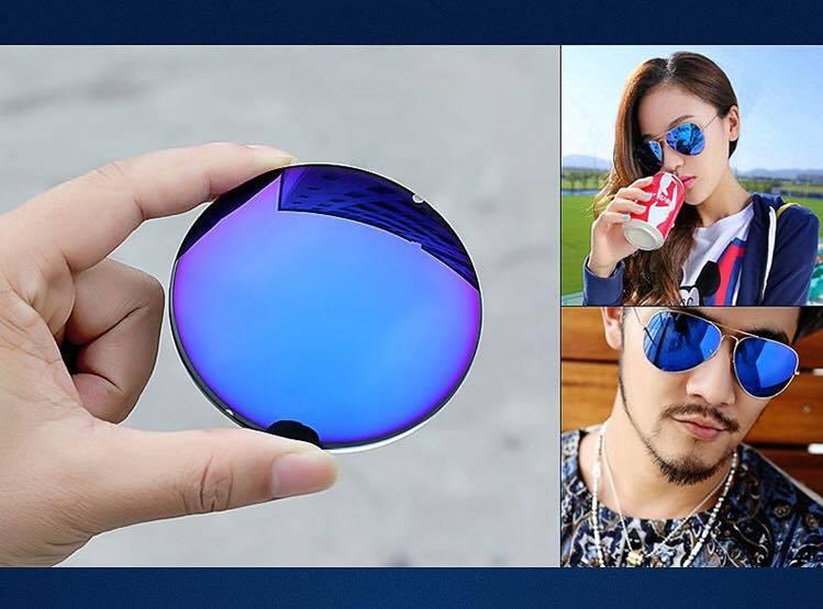 Tròng kính râm cận tráng gương xanh nước biển